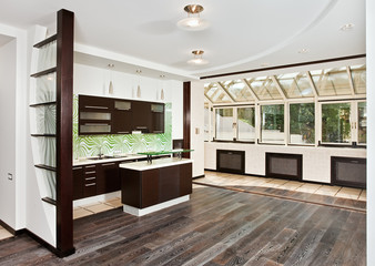 Modern drawing room and Kitchen interior with dark wooden floor