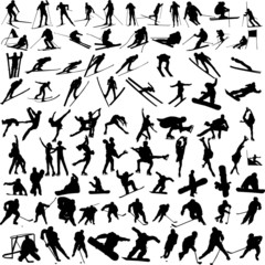 winter sports silhouettes - vector