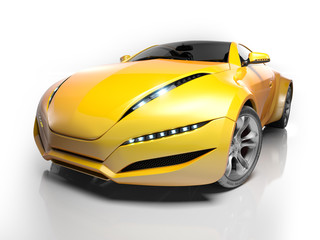 Sports car isolated on white.