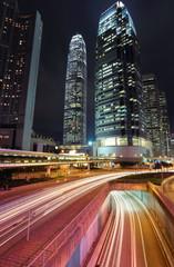 traffic through downtown in Hong kong.