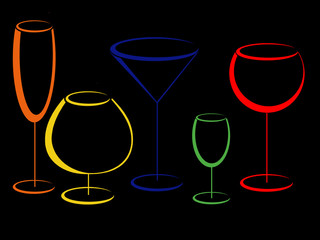 Colour wineglasses for alcohol drinks