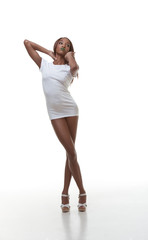 Black naked woman in white t-shirt, slender legs