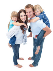 Loving family enjoying piggyback ride