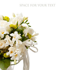 white bouquet isolated on white background (with sample text).