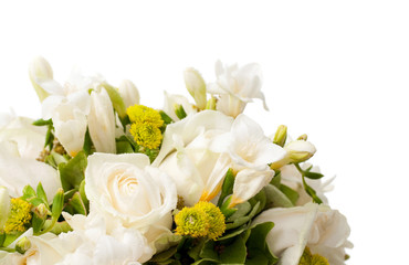 closeup of white wedding bouquet.