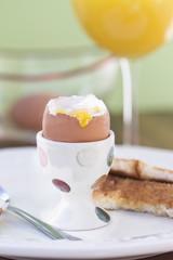 Soft boiled egg. Shallow DOF.
