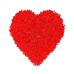 Red heart made of hearts.