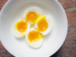 Squidgy runny yolks of soft-boiled eggs
