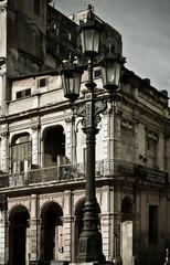 Street lamp in front of a building, Havana, Cuba