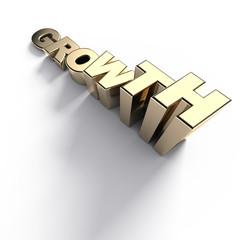 Growing golden growth word - 3d render
