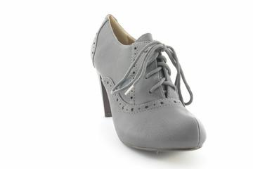 Escarpins à talons gris en cuir