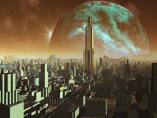 Daybreak over Alien Metropolis