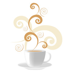 Vector illustration of cup of coffee with swirls on the top.