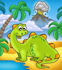 Photo sur Plexiglas Dinosaurs Cute dinosaur with volcano