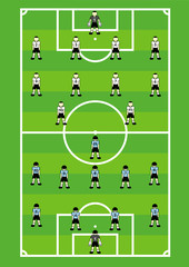 Soccer teams on field with its tactical schemes.