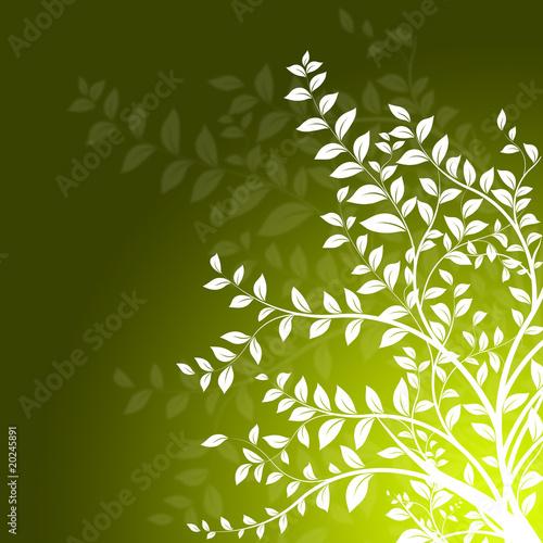 D coration branche d 39 arbre sur fond vert floral design - Decoration branche arbre ...