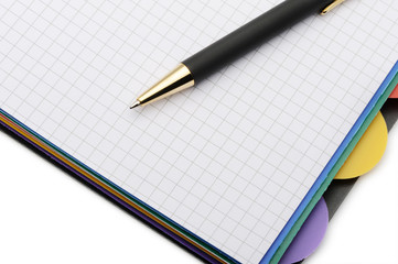Notebook - organizer with the stylish pen.Color bookmarks