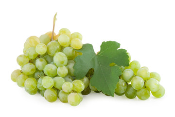 ose-up of a bunch of grapes isolated over white