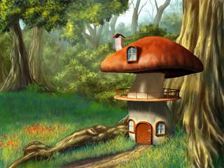Obraz Dom z grzyba - fototapety do salonu