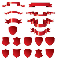 Red shields and ribbons. Vector elements for design.