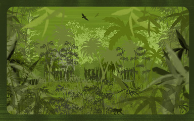 An all-green jungle scene illustration - see all different versi
