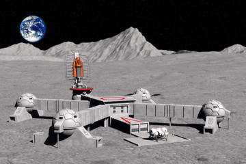 Wall Mural - moon base