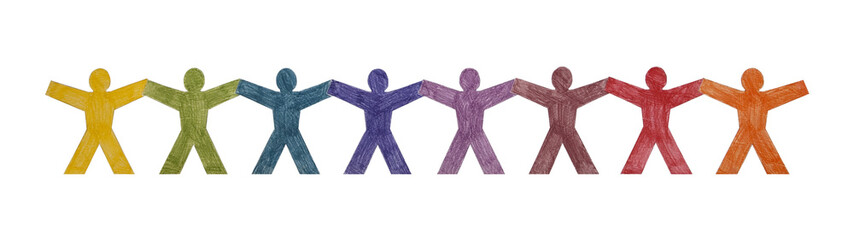 Colourful people standing in a row with clipping path
