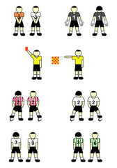 Soccer  players, referees and goalkeeper. Vector illustration.