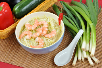 oriental style noodle soup with shrimps