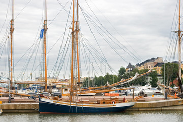 private yachts alongside the dock in helsinki