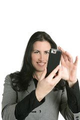 Camera of cell phone on woman hands