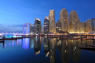 Dubai Marina at dusk. Dubai, United Arab Emirates