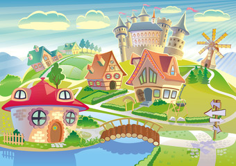 Fairyland with castle, windmill and little cute village