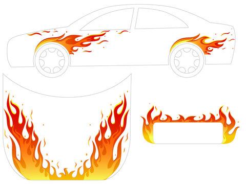 fire illustration for car tattoo