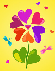 Cute floral composition of colorful hearts