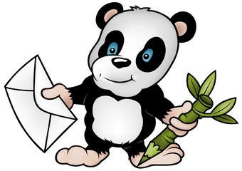 Panda and Letter - colored cartoon illustration