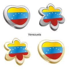 vector illustration of venezuela flag in heart and flower shape