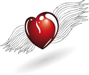Valentinstag, Ehe, Herz, Flügel, Liebe, love