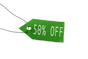 green tag 50% off