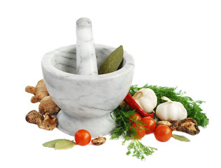 Mortar and vegetables