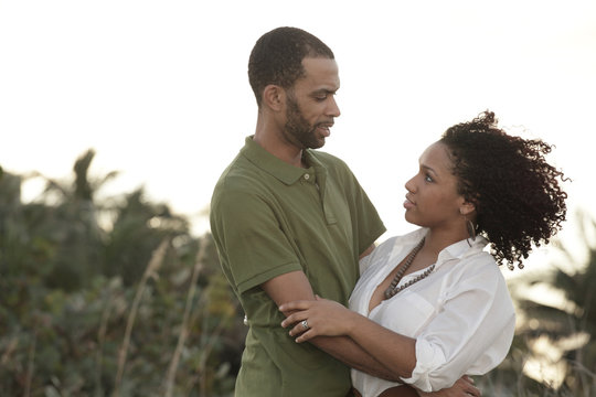 Young African American couple outdoors