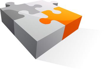 Orange puzzle - business / web 3d icons and logos series