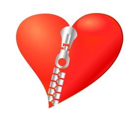 heart sealed zipper