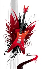 Heavy metal winged red guitar