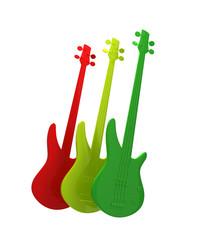 Three guitars in bright colors