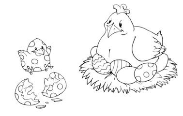 Ostern, Ostereier, Huhn, Küken, Henne, Osterei