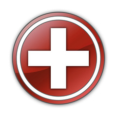 """Glossy Button """"Medical Cross"""""""