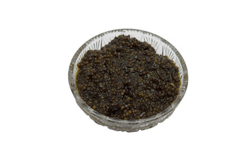 black caviar on white background. Isolated object