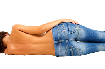 Topless girl in blue jeans