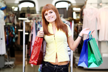 Shopping woman smiling